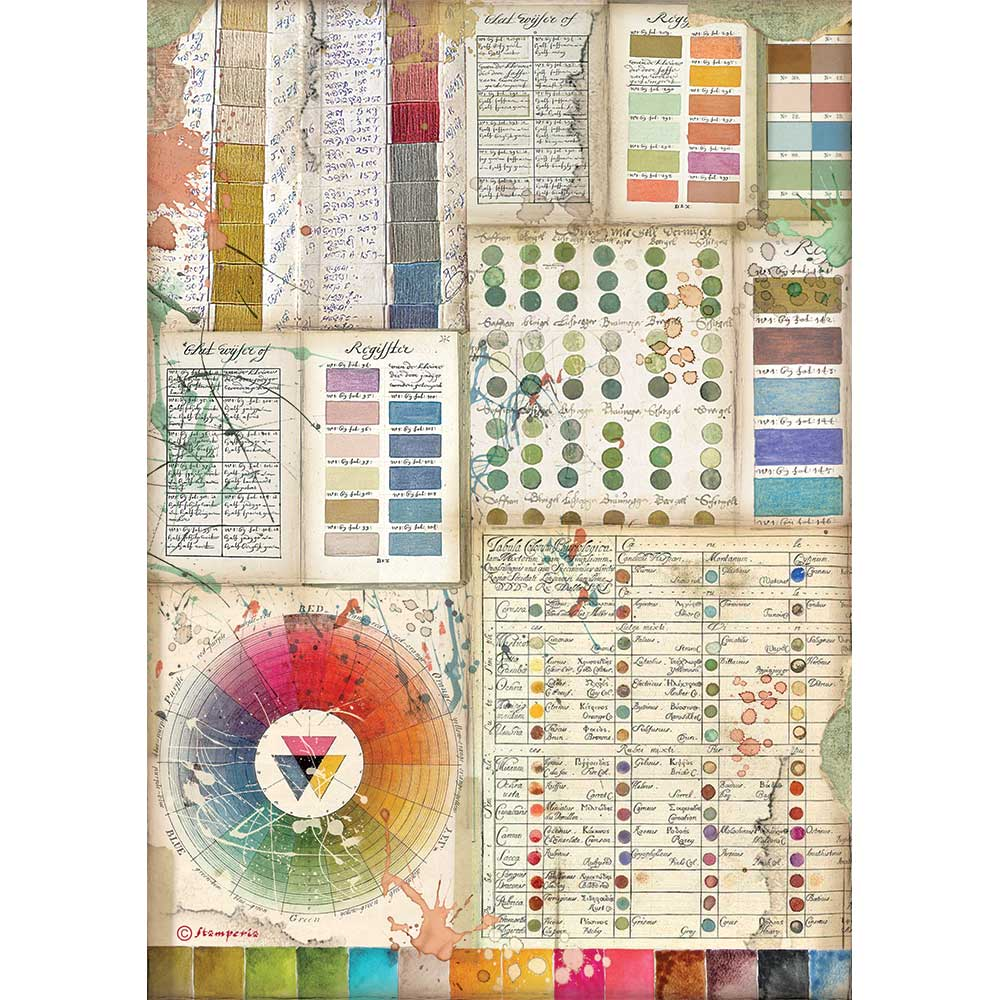 New Stamperia A4 Decoupage  Atelier Pantone Colours DFSA4552, Art & Craft Paper by The Craft House