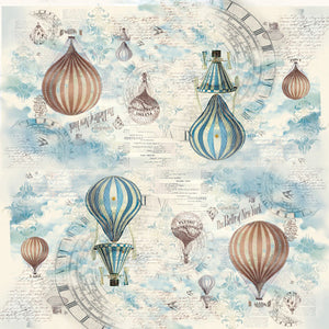 NEW Stamperia 50x 50cm Decoupage Rice Paper - Hot Air Balloons - DaliART