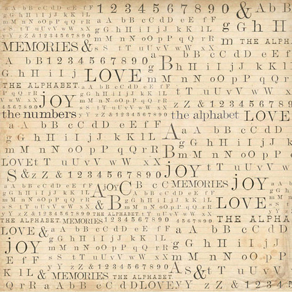 Stamperia 50 x 50cm Decoupage Alphabet Numbers and Words DFT265