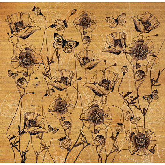Stamperia 50 x 50cm Decoupage Rice Paper Texture Poppy