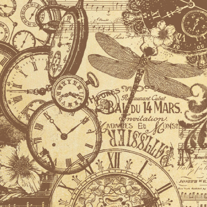 Stamperia 50 x 50cm Decoupage Rice Paper Watches and Butterflies DFT301, Art & Craft Paper by The Craft House