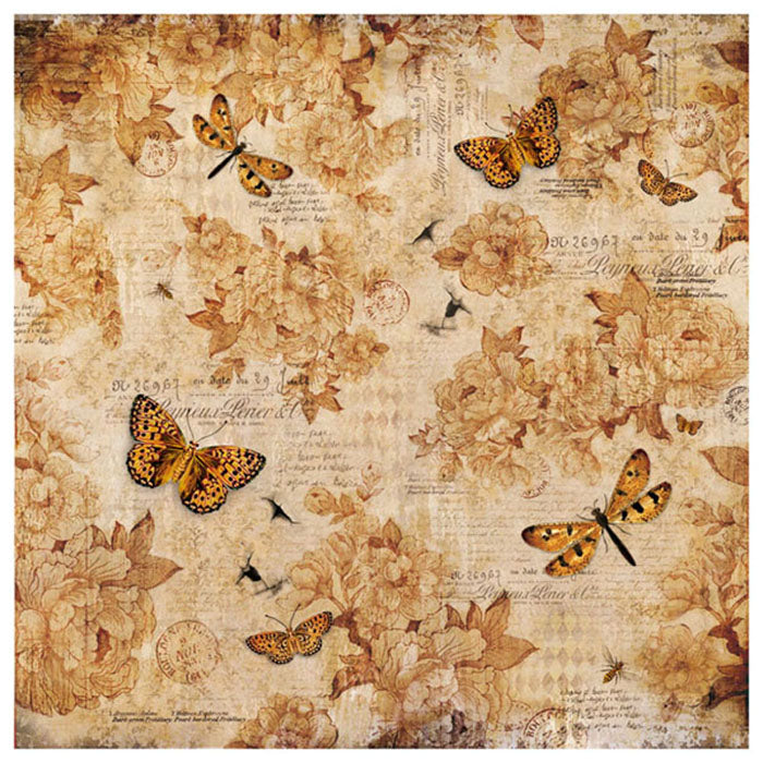 Stamperia 50x 50cm Decoupage Rice Paper - Vintage Butterfly Flowers DFT323, Arts & Crafts by The Craft House