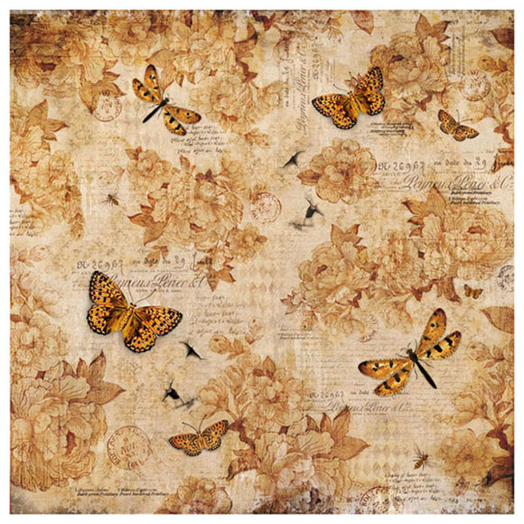 NEW Stamperia 50x 50cm Decoupage Rice Paper - Vintage Butterfly Flowers - DaliART