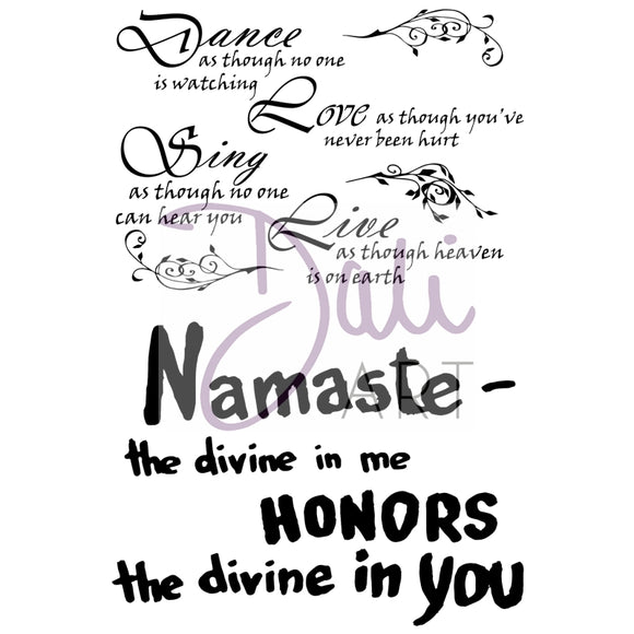 DaliART- Dance, Love, Sing & Namaste Sentiments Stamp - DaliART