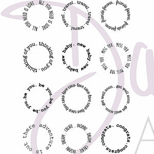 DaliART- Henna Circle Sentiments Stamp - A6 - DaliART