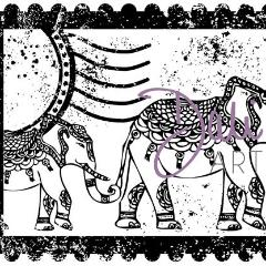 DaliART Indian Elephants Collage Rubber Stamp - DaliART