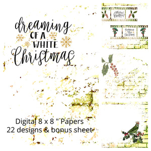"NEW ShokART- 8x8"" Scrapbooking - Dreaming of a White Christmas- Digital Download"