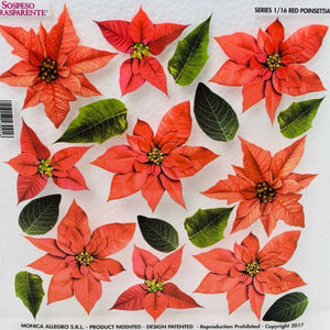 NEW Sospeso Trasparente -Printed Film Red Poinsettia - S1/16 - DaliART