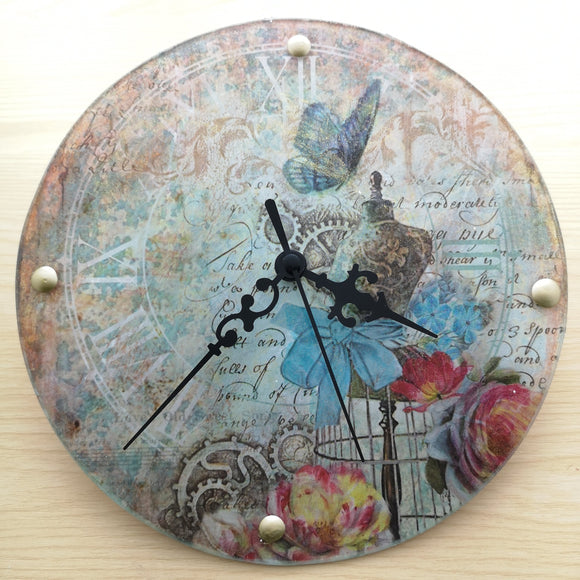 Craftalong Kit - Crackle Glass Clock & Mechanism with Step by Step Video