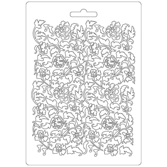 Stamperia Texture Impression Moulds - A5 - Ramage Flowers & Leaves- K3PT522