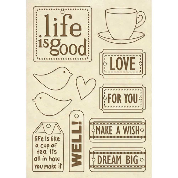 NEW Stamperia Wooden Shapes A5 Frames- Life is Good