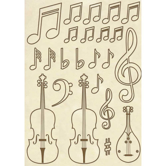 NEW Stamperia Wooden Shapes A5 Frames- Violin