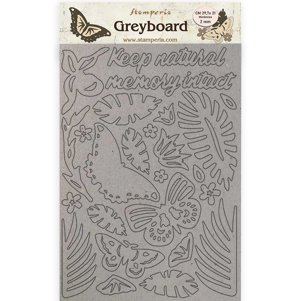 New Stamperia Greyboard A4/1 mm - Amazonia Butterflies - KLSPDA422