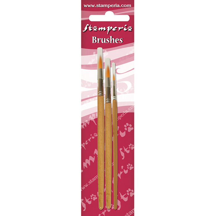 Stamperia  Set of 3 Round Tip Brushes 2-6-10 - KR102B, Art & Crafting Tools by The Craft House