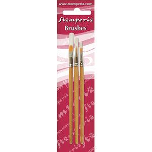 "NEW Stamperia ""SET 3 """"CAT TONGUE"""" TIP BRUSHES 2-6-8"" - KR104B - DaliART"