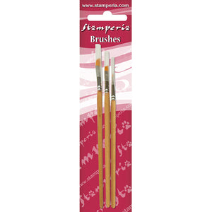 NEW Stamperia  Set of 3 Oblique Tip Brushes 4-6-8 - KR105B - DaliART