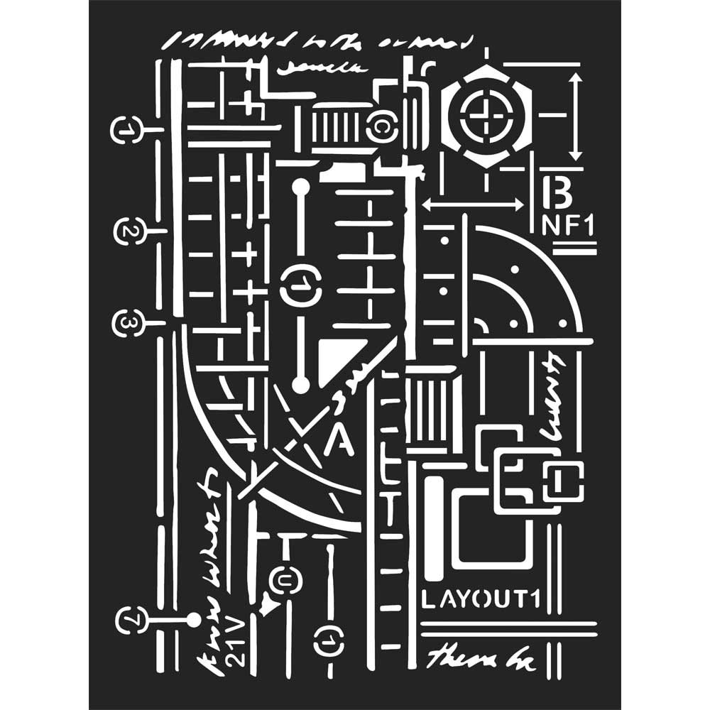 Stamperia Stencil - Thick Stencil -15 x20cm - Mixed Media Layout -KSAT05, Craft Measuring & Marking Tools by The Craft House