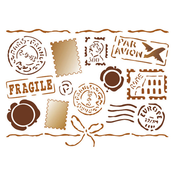 Stamperia Stencil - Flexible transparent 20x15cm - Travel Stickers- KSD103
