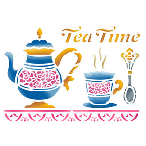 Stamperia Stencil - Flexible transparent 20x15cm - Tea Time- KSD132