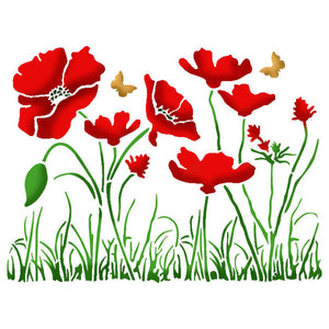 Stamperia Stencil - Flexible transparent 20x15cm - Poppy Fields- KSD269