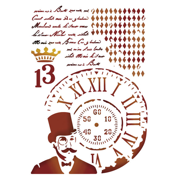 Stamperia Stencil - Flexible transparent 20x15cm - Steampunk Man