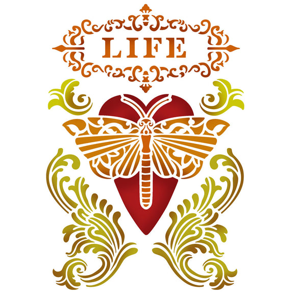 Stamperia Stencil - Flexible transparent 20x15cm - Life KSD283