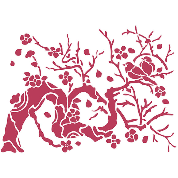 Stamperia Stencil - Flexible transparent 20x15cm - Bird on Branch- KSD301