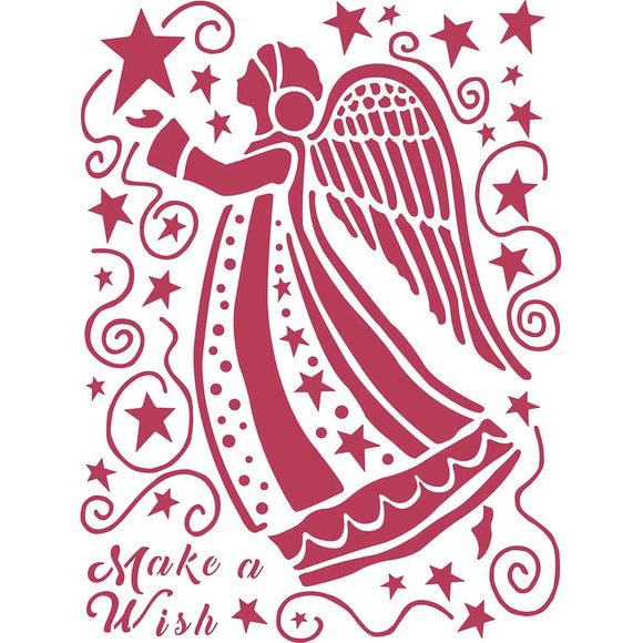 Stamperia Stencil - Flexible transparent 20x15cm - Make a Wish Angel- KSD305