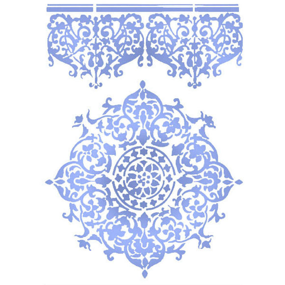 Stamperia Stencil - Flexible transparent 21x29,7cm -Lace Centre & Border