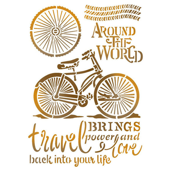 Stamperia Stencil - Flexible transparent 21x29,7cm -Around the World Bikes