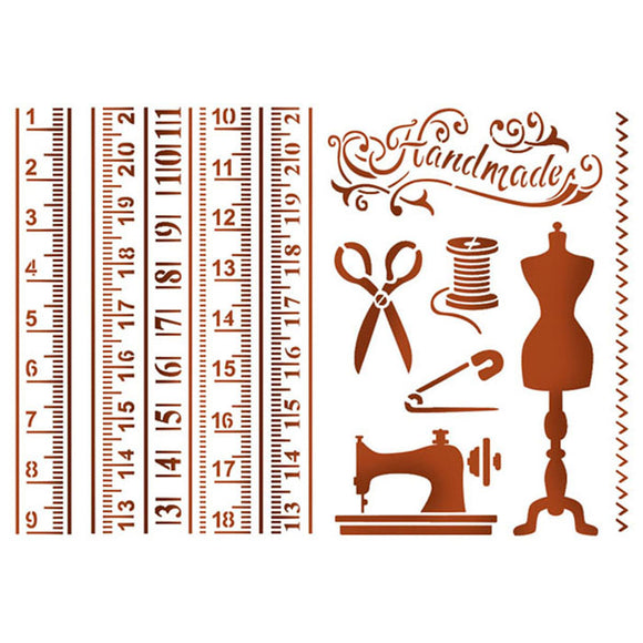 Stamperia Stencils - Flexible transparent A4 - Sewing KSG401