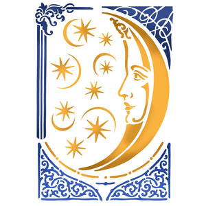 NEW Stamperia Stencils - Flexible transparent 21x29,7cm - Alchemy Moon