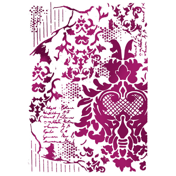 Stamperia Stencil - Flexible transparent A4 - Floral Script KSG405
