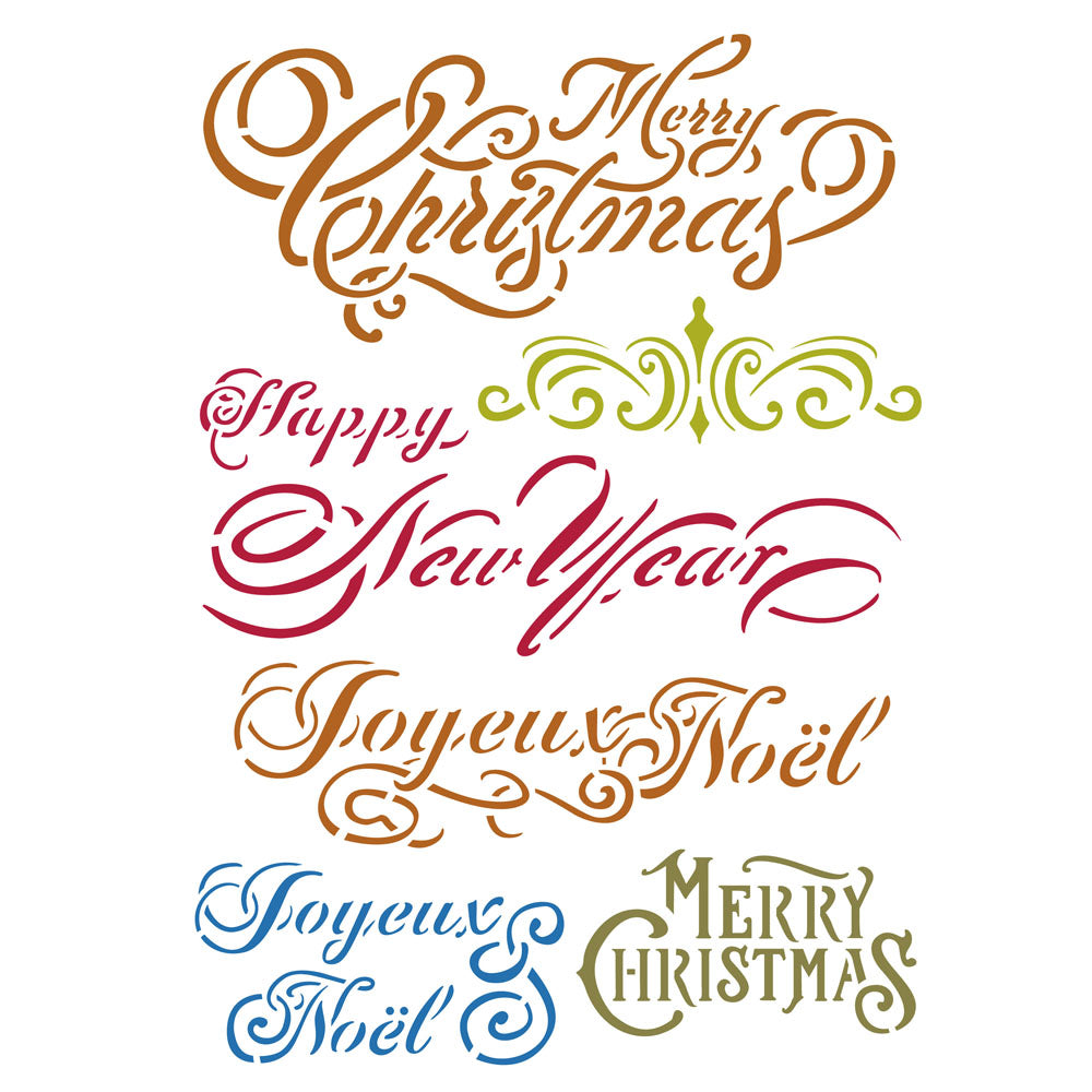 Stamperia Stencil - Flexible transparent 21x29,7cm -Christmas Sentiments- KSG415, Craft Measuring & Marking Tools by The Craft House