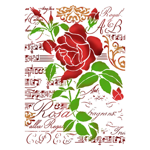 Stamperia Stencil - Flexible transparent 21x29,7cm - Rose and Music Script