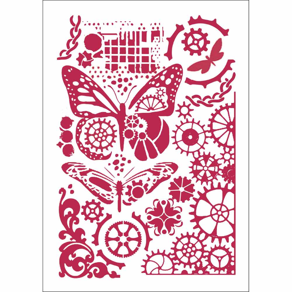 Stamperia Stencil - Flexible transparent A4 - Mechanical Butterfly KSG421, Arts & Crafts by The Craft House