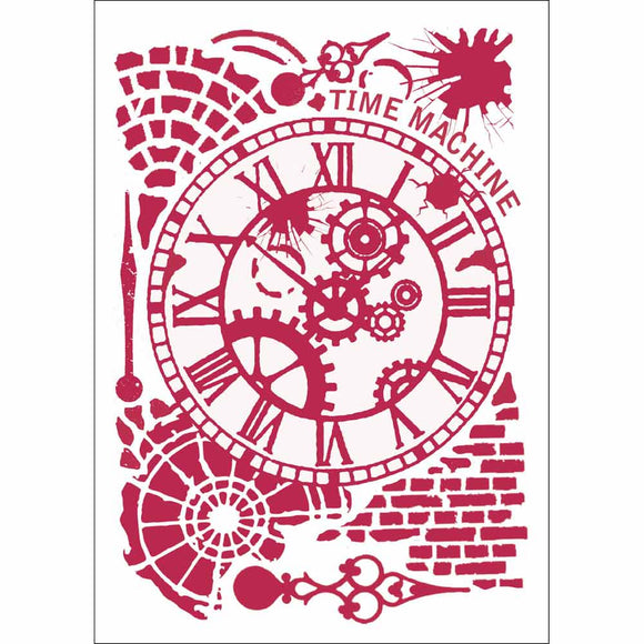 NEW Stamperia Stencil - Flexible transparent 21x29,7cm - Time Machine - DaliART