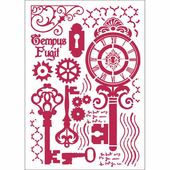 NEW Stamperia Stencil - Flexible transparent 21x29,7cm - ClockWork Keys - DaliART
