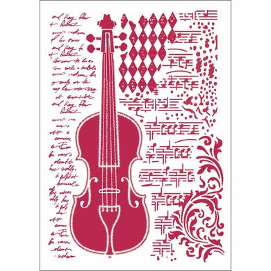 NEW Stamperia Stencil - Flexible transparent 21x29,7cm - Musical Violin Notes - DaliART