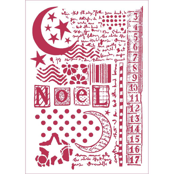 Stamperia Stencil - Flexible transparent 21x29,7cm - Moon Star & Writings KSG434