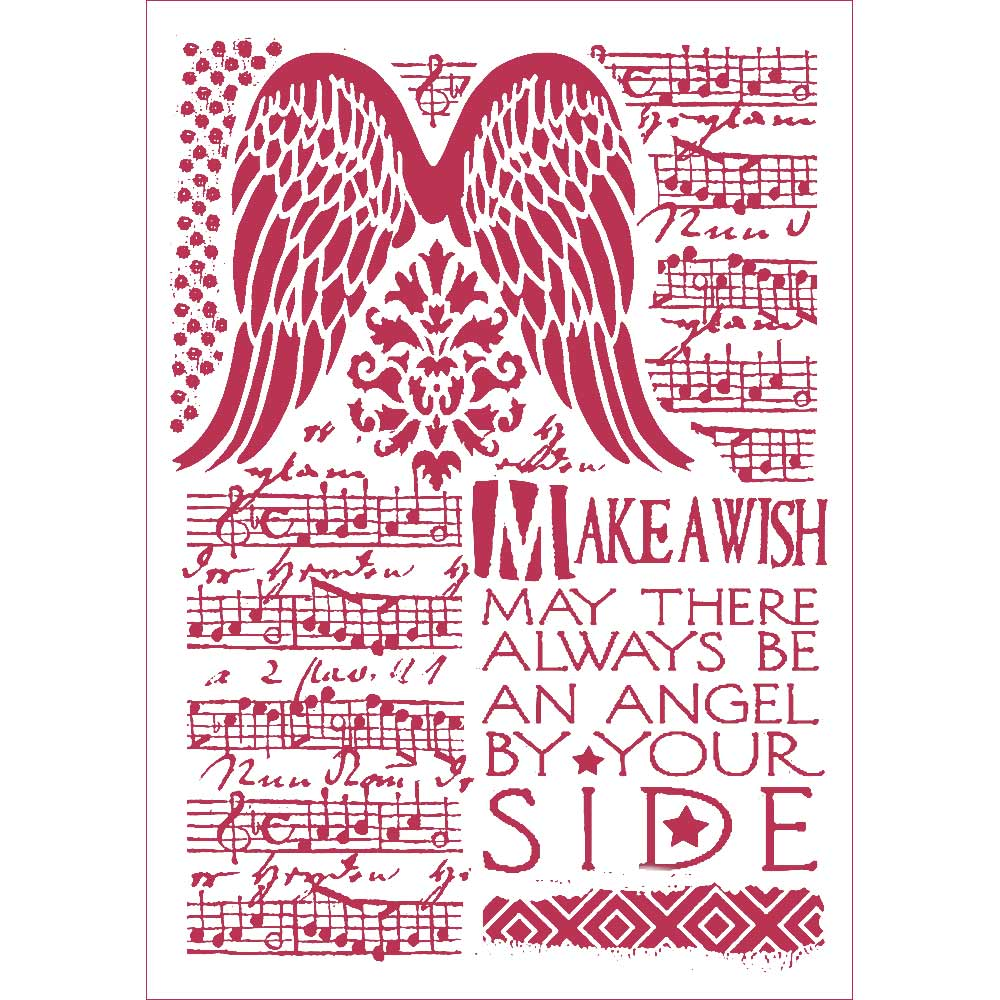 Stamperia Stencil - Flexible transparent 21x29,7cm - Angel Wings Make a Wish- KSG435