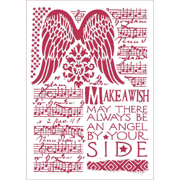 NEW Stamperia Stencil - Flexible transparent 21x29,7cm - Angel Wings Make a Wish- KSG435
