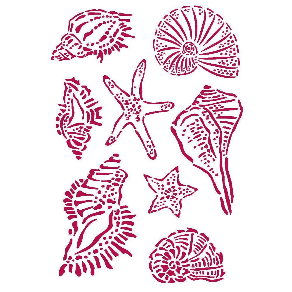 New Stamperia Stencil - Flexible transparent 21x29,7cm -Romantic Sea Dream Shells -KSG463, Art & Crafting Tools by The Craft House