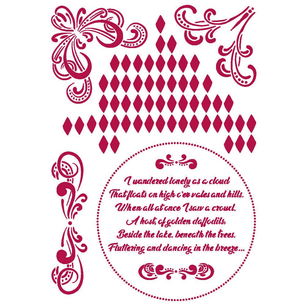 New Stamperia Stencil - Flexible transparent 21x29,7cm -Romantic Threads Corner -KSG464, Art & Crafting Tools by The Craft House