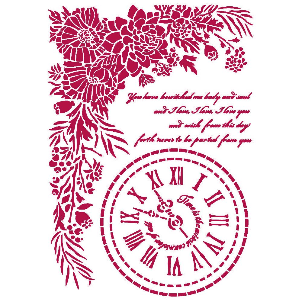 New Stamperia Stencil - Flexible transparent 21x29,7cm -Romantic Journal Clock -KSG465, Art & Crafting Tools by The Craft House