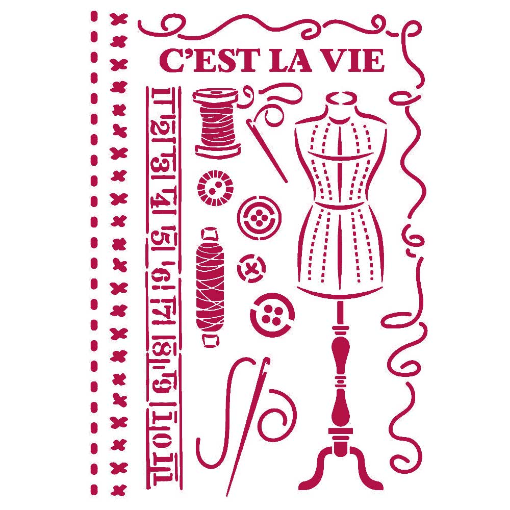 New Stamperia Stencil - Flexible transparent 21x29,7cm -Romantic Threads Couture -KSG467, Arts & Crafts by The Craft House