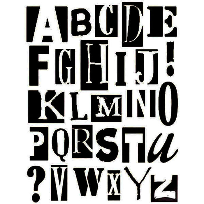 Stamperia Stencil - Thick Stencil -20x25cm - Mixed Media Alphabet- KSTD004, Art & Crafting Tools by The Craft House