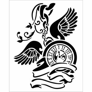 NEW Stamperia Stencil - Thick Stencil -20 x25cm Clock with Wings