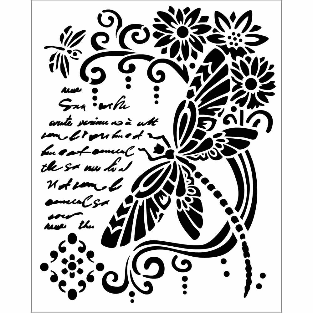 Stamperia Stencil - Thick Stencil -20 x25cm Dragon Fly, Craft Measuring & Marking Tools by The Craft House