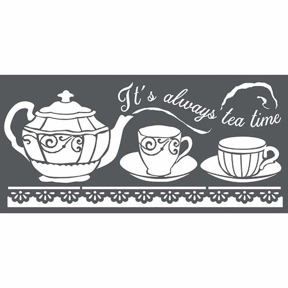NEW Stamperia Stencil - Thick Stencil -12 x25cm Tea Time  KSTDL18